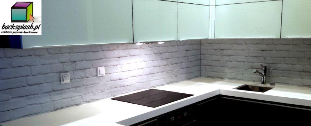 Panele szklane w kuchni  Backsplash -> Kuchnia Biala Cegla